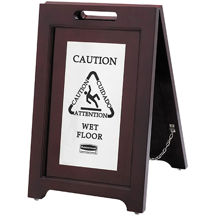 Wooden Wet Floor Sign - 2-Sided Multi-Lingual Stand